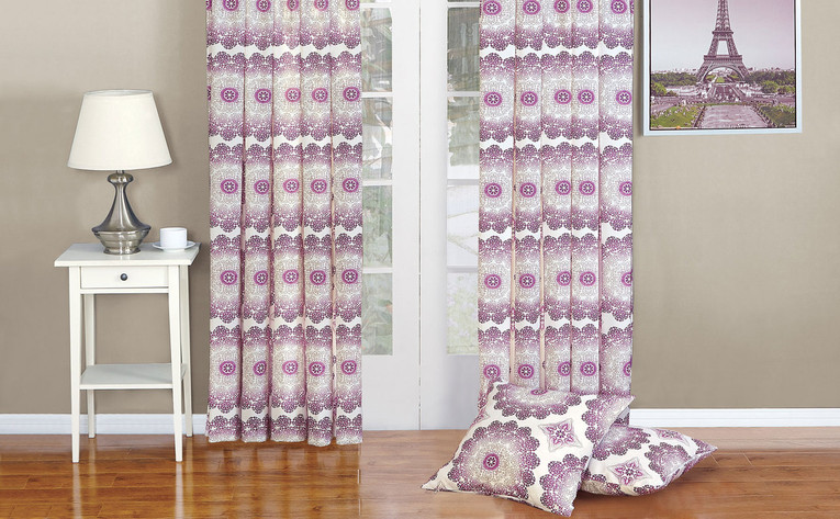 Magenta Purple Delia Curtain & Throw Pillow Shell Combo Set