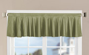 Green Solid Faux Silk Valance