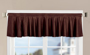 Brown Solid Faux Silk Valance