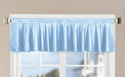 Light Blue Solid Faux Silk Valance