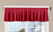 Red Solid Faux Silk Valance