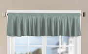 Silver Blue Solid Faux Silk Valance