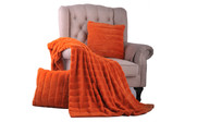 Burnt Orange Rabbit Jumbo Faux Fur Throw & Pillow Combo Set