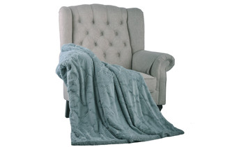 Silver Blue Ashley Brushed Faux Fur & Matching Sherpa Borrego Backing Throw