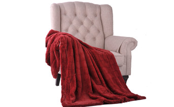 Garnet Kasaya Jacquard Supersoft Faux Fur Throw