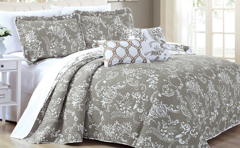 Taupe LA Boheme 5 Piece Printed Bed Spread Set Collection