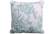 Teal Turquoise Taupe LA Boheme 5 Piece Printed Bed Spread Square Throw Pillow