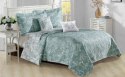 Teal Turquoise Taupe LA Boheme 5 Piece Printed Bed Spread Set