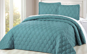 Teal Bradly Down Alternative 3 Piece Quilted Bed Spread Set