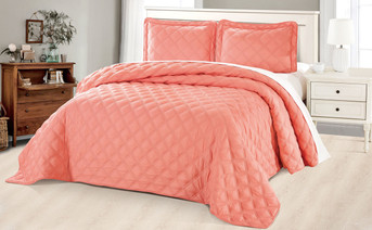 Coral Charleston Down Alternative Bed Spread Set