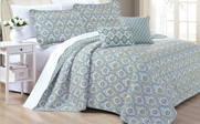 Gray Mini Tivoli Printed Quilted 5 Piece Bed Spread Set