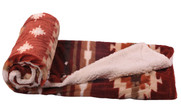 Brick Red Southwest Faux Fur and Sherpa Throw Blanket Roll