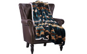 Deep Teal Southwest Faux Fur and Sherpa Throw Blanket