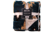 Deep Teal Southwest Faux Fur and Sherpa Throw Blanket Retail Pack