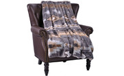 Gray Southwest Faux Fur and Sherpa Throw Blanket