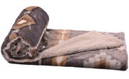 Gray Southwest Faux Fur and Sherpa Throw Blanket Roll