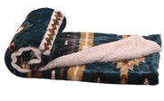 Deep Teal Jumbo Faux Fur and Sherpa Throw Blanket Roll