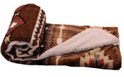 Coffee Southwest Jumbo Faux Fur and Sherpa Throw Blanket Roll