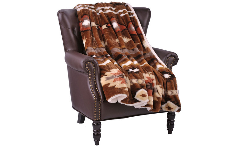 Coffee Southwest Jumbo Faux Fur and Sherpa Throw Blanket