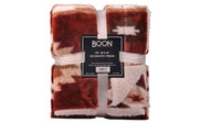 Brick Red Southwest Jumbo Faux Fur and Sherpa Throw Blanket Retail Pack