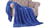 Lapis Blue Crystal Chenille Knitted Throw Blanket
