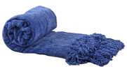 Lapis Blue Crystal Chenille Knitted Throw Blanket Rolled