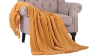 Primrose Yellow Crystal Chenille Knitted Throw Blanket