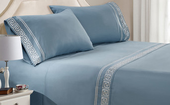 Ashley Blue Greek Key Embroidered 4 Piece Bed Sheet Set