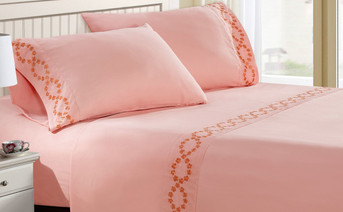 Rose Quartz Puka Lei Embroidered Bed Sheet Set