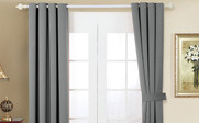 Grey Black Out Curtain 4 Piece Set