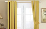 Jojoba Yellow Black Out Curtain 4 Piece Set