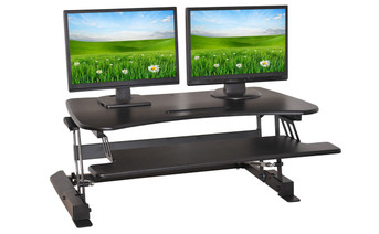 Double Wide Adjustable Height Easy Pull Home Office Desk  2 Monitors
