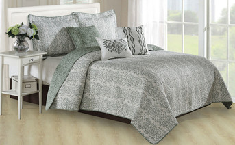 Mayfair Printed Quilted 6 Piece Bed Spread Set