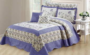 Saigon 6 Piece Quilted Bed Spread Lilac