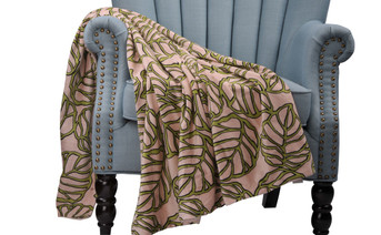 Leaves Printed Microplush Throw