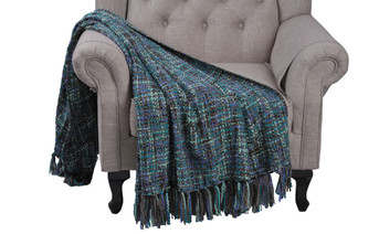Deep Teal Naga Jumbo Knitted Throw