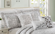 Gray Birdsong 6 Piece Bed Spread Set Up Close