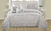 Gray Birdsong 6 Piece Bed Spread Set Front