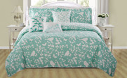 Teal / Turquoise Birdsong 6 Piece Bed Spread Set Front