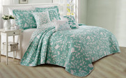 Teal / Turquoise Birdsong 6 Piece Bed Spread Set