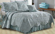 Damask Coverlet 5 Piece Bed Spread Set