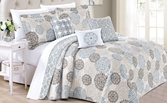 Marina Medallion Printed Quilted 6 Piece Bed Spread Set