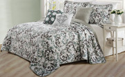 Ravello Scroll Printed Quilted 6 Piece Bed Spread Set Reverse