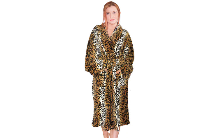 Cheetah Printed Microfiber Flannel Fleece Bath Robe