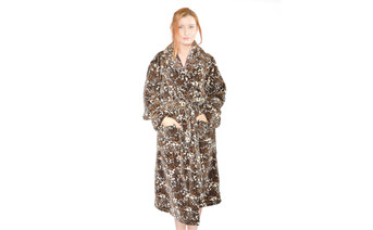 Jaguar Printed Microfiber Flannel Fleece Bath Robe