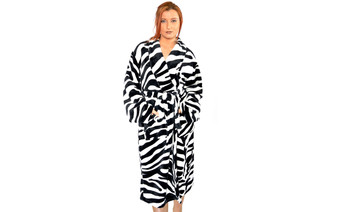 Zebra Flannel Fleece Robe Front