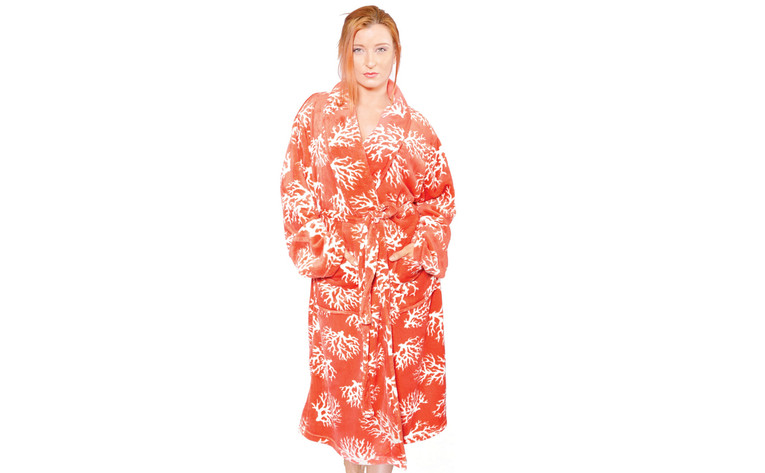 Ardre Coral Flannel Fleece Bath Robe