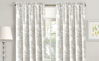 Birdsong 2 Piece Curtain Set Gray