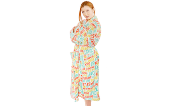 Words Printed Flannel Fleece Robe