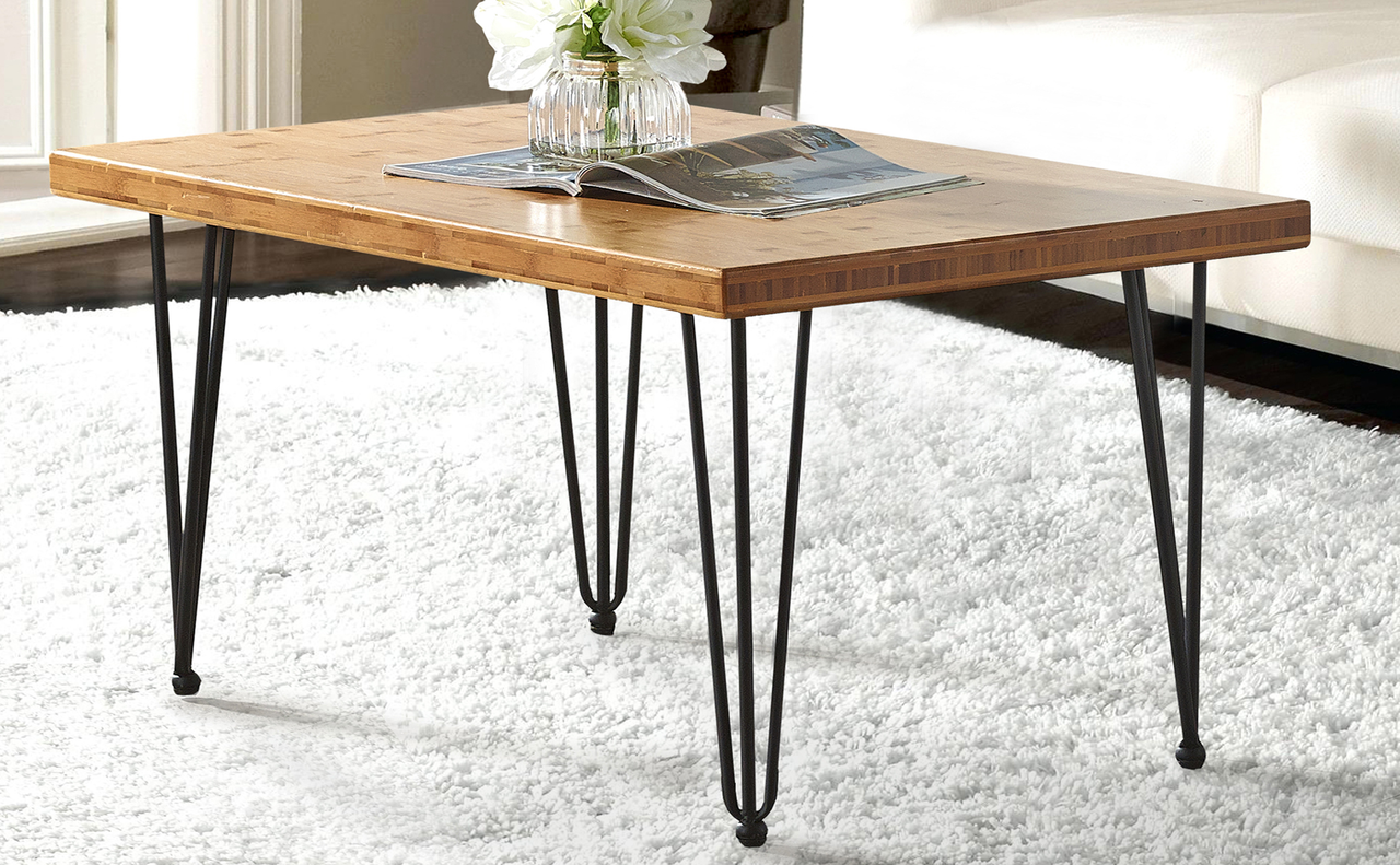 - Bamboo Coffee Table With Hairpin Legs, 36